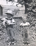Circa 1951 Steve&John at ranch copy