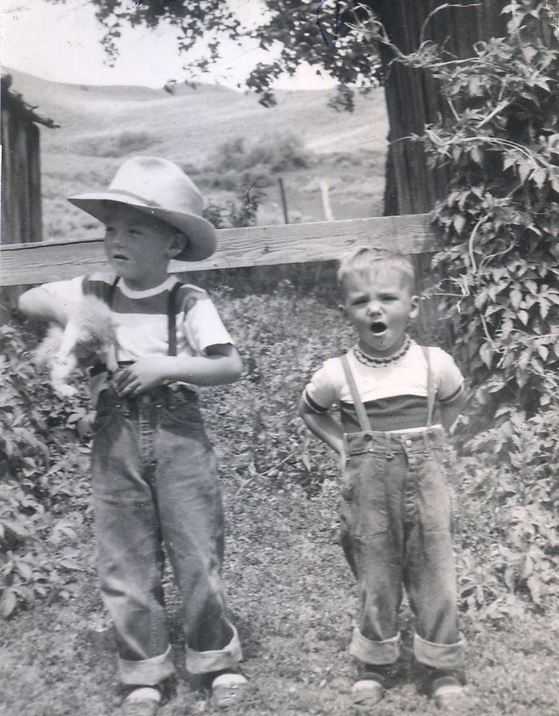 Circa 1951 Steve&John at ranch copy